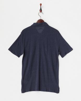 Navy  リネン混ポロシャツ見る