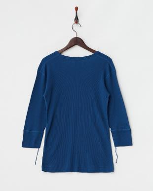 ブルー  ワッフルUネック7分袖Tシャツ見る