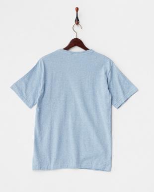 ブルー  メランジクルーポケットTシャツ見る