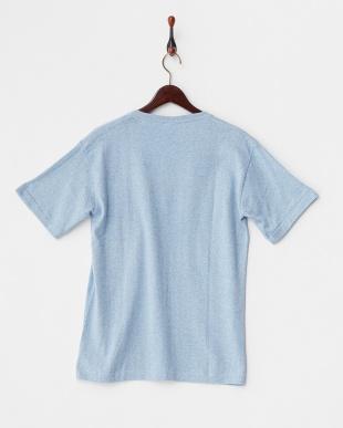ブルー  メランジVネックTシャツ見る