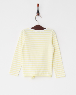 Light Yellow  ボーダースソリボン長袖Tシャツ見る