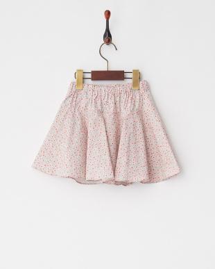 Pink スモールフラワープリントフレアースカート見る