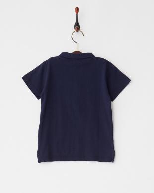 Navy  フロントジップスポーティ半袖ポロシャツ見る