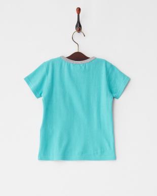 Light Green  パネルプリントボーダー半袖Tシャツ見る