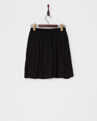 ブラック  ゴムギャザースカート見る