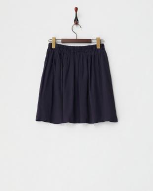 ネイビー  ゴムギャザースカート見る