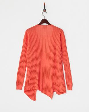 オレンジ 羽織りリブニットカーディガン見る