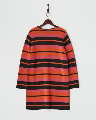 ブラック×ピンク×オレンジ ボーダーノーカラーコート見る