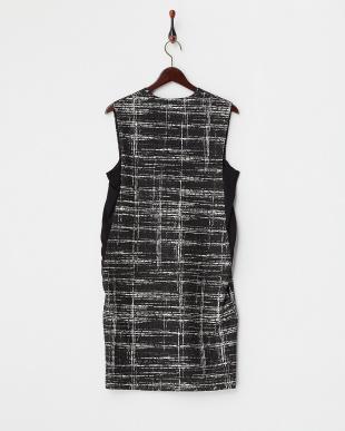 ブラック サイドシフォン フラワレース×チェックドレス見る