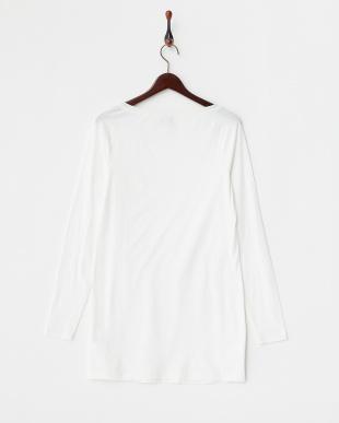 ホワイト シルクネック ラグランスリーブTシャツ見る