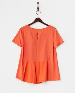 オレンジ  後裾切り替えTシャツ見る