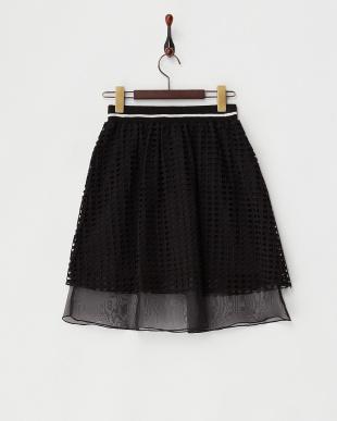 ブラック レースオーガンジースカート見る