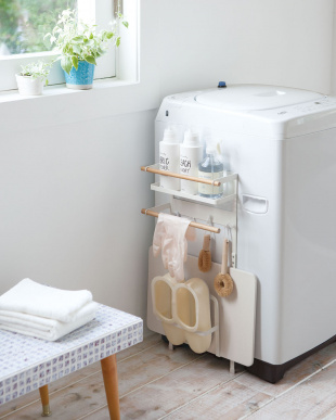 ホワイト 洗濯機横マグネット収納ラック トスカ見る