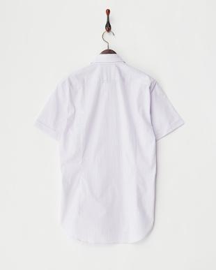 LAVENDER  マイクロチェックワイドカラー半袖シャツ見る