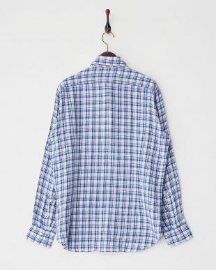 ブルー リネンチェック柄長袖シャツ見る