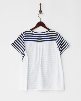 Navy  ボーダーバック切り替えTシャツ見る