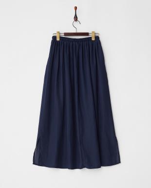Navy  チリメンマキシ丈スリットスカート見る