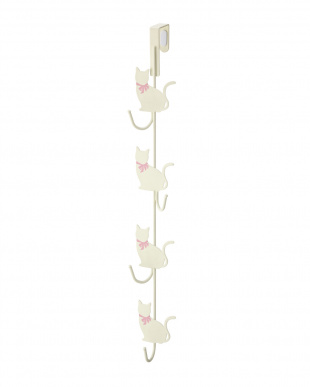 ホワイト ドアハンガー 猫4連見る