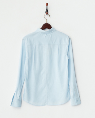 ブルー リネン混シャツ見る