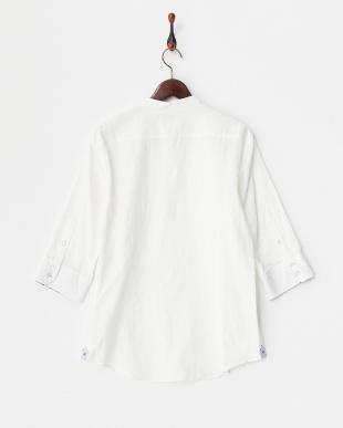 ホワイト バンドカラーシャドーカモフラシャツ見る