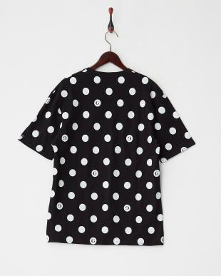 ブラック  ドット柄プリントTシャツ見る