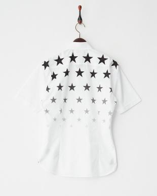 ホワイト  スタープリントグラデーション半袖シャツ見る
