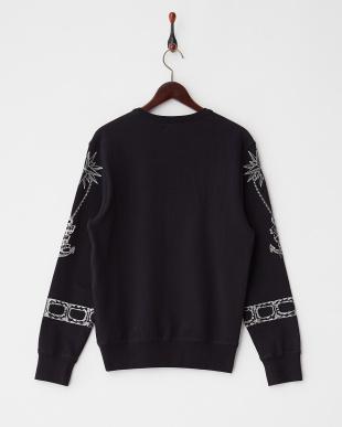 ブラック 刺繍デザインスウェットシャツ見る