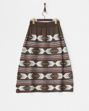 ダークブラウン ネイティブジャガードスカート見る