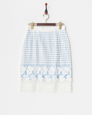 ホワイト レースレイヤードタイトスカート見る