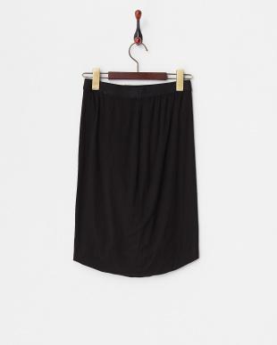 ブラック モダールスパンデックスツイストスカート見る