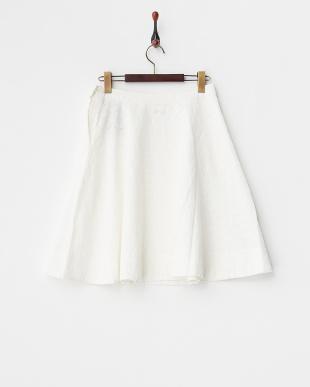WHITE O.カットワークフレアMIDスカート見る