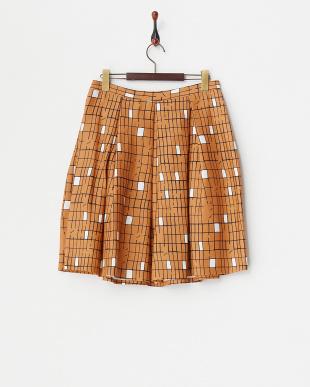 ORANGE CHICCA シルク混プリント タックフレアスカート見る