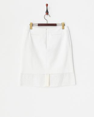 WHITE PRINGLEメッシュパネル切り替えシルクスカート見る