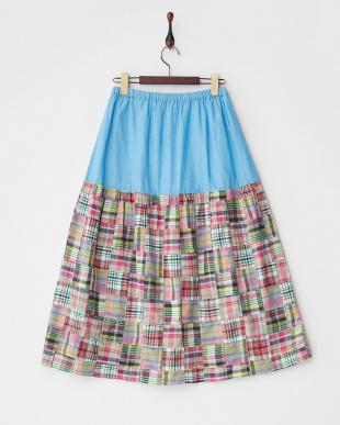 ピンク パッチワーク切替ギャザースカート見る