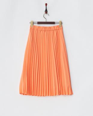オレンジプリーツスカート見る