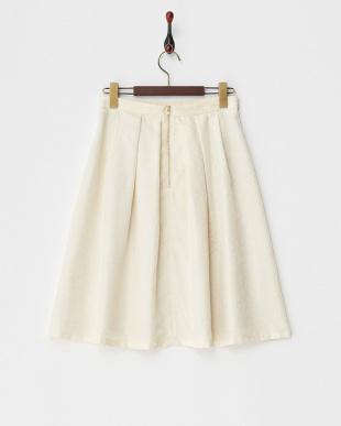 アイボリーアラベスクジャガードスカート見る
