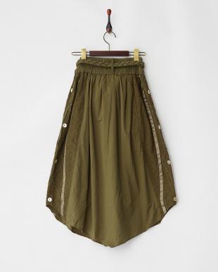 オリーブ  サイド釦ギャザー三つ編みベルト付スカート見る