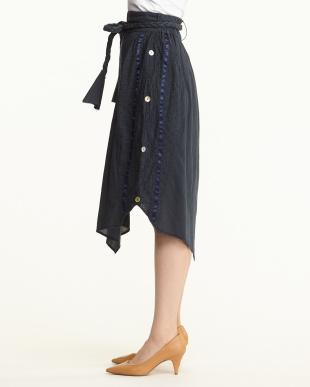 ネイビー  サイド釦ギャザー三つ編みベルト付スカート見る