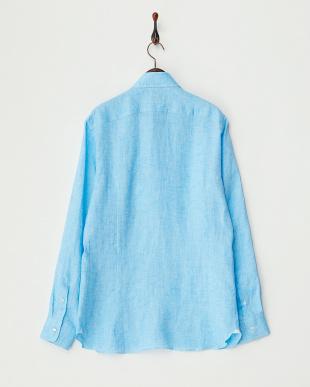 ブルー  リネンシャツ見る