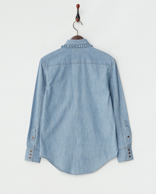 L.BLUE DENIM SHIRT W/FRILL CALOR見る
