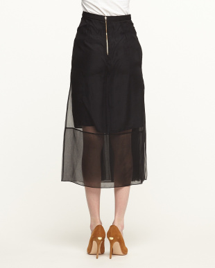 BLACK PLEATED SILK LAYERED LONG SKIRT見る