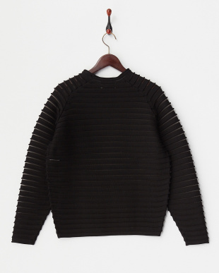 BLACK L/SL PER STRIPE KNIT TOP見る