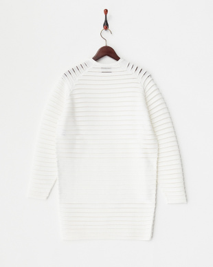 WHITE  L/SL PER STRIPE KNIT DRESS見る