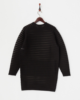 BLACK  L/SL PER STRIPE KNIT DRESS見る