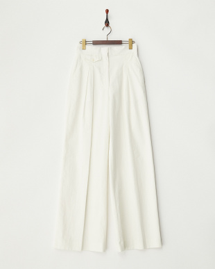 WHITE  LINEN TWILL 2-PLEATED PANT見る