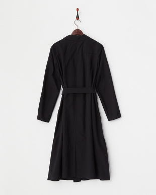 BLACK V WOOL TRENCH DRESS見る