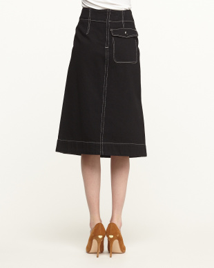 BLACK COTTON DENIM FLARED SKIRT見る