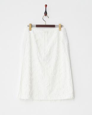 ホワイト  カットジャガードフリンジスカート見る
