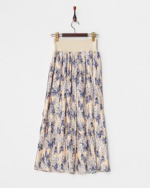 ORANGE  パイナップル柄プリーツロングスカート見る