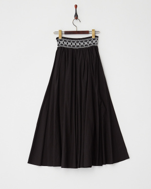 BLACK  スモック刺繍ロングスカート見る